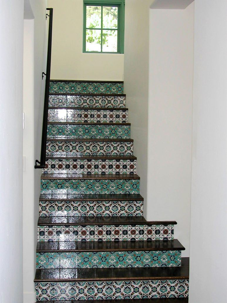 Hand Painted Decorative Ceramic Picture Tiles Fascinating Decorative Tile Stair Risers & Tile Stairs Hand Paintedbalian Inspiration