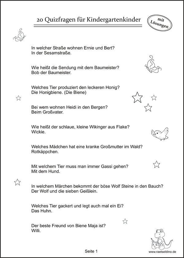 Quizfragen Kindergartenkinder | Quizfragen für kinder