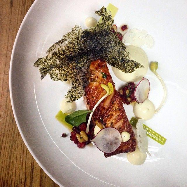 Salmon cauliflower purée beet salsa homemade seaweed cracker mykitchen #instagood #hiltonchongqing #ilovecooking #food #foodporn #kissthechef #kitchen #chefslife #chef #creation #cuisine #culinary #chefstalk #gastroart #hiltonchongqing #talhabarkin #TheArtOfPlating #finefood #kochenmachtglücklich #kochenistliebe #foodie #FOURMagazine #FOURAsia #chefsroll #yemek #foodinlifemagazine #foodstarz #food4inspiration #ChefsOfInstagram #foodstagram by t.barkin