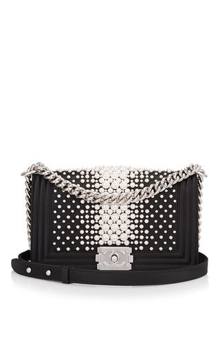 84c6185b129c This Collector s Edition   Chanel   Black Pearl Medium Boy Bag curated by   Madison  Avenue Couture   is rendered in black satin with pearl embellishments ...