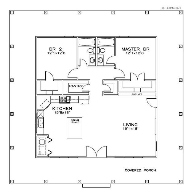 House Plan 6471 00032 Country Plan 1 225 Square Feet 2 Bedrooms 2 Bathrooms Cabin Floor Plans Tiny House Floor Plans Cottage Floor Plans