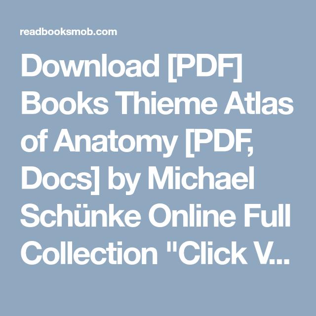 Download Pdf Books Thieme Atlas Of Anatomy Pdf Docs By Michael