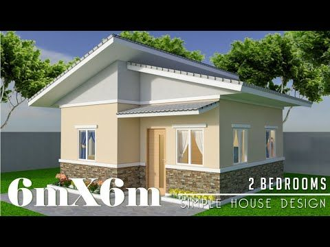 6mx6m (36sq.m) simple house design with 2 bedrooms