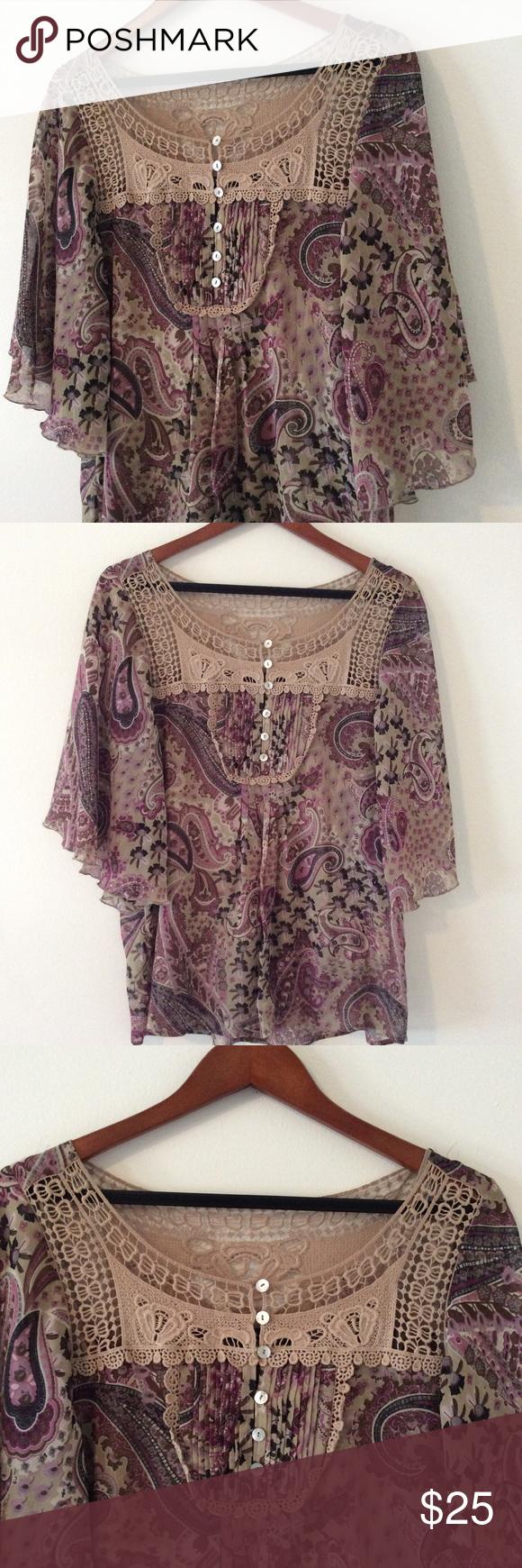 Flirty Airy Paisley Print Boho Blouse 👚 M So much beauty in one blouse. Dolman sleeves, Paisley Print, crochet neck, accordion pleats! Size medium. Daniel Rainn Tops