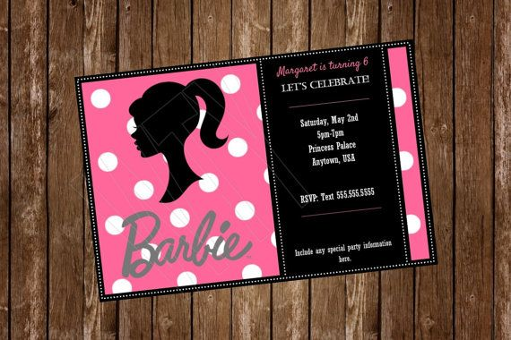 BARBIE Invitation Card free customization by WillowTreeYarnery