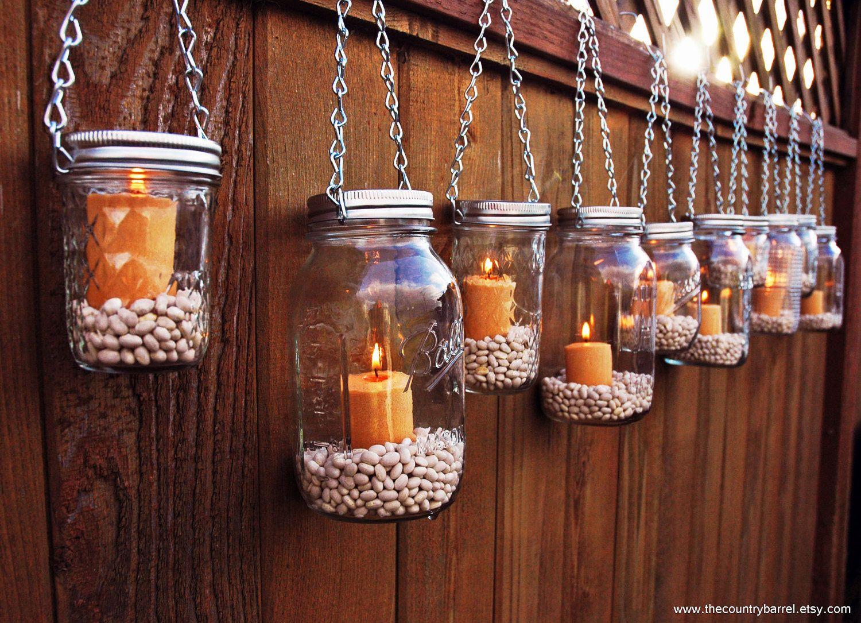 Mason Jar Lanterns Hanging Tea Light Luminaries - Set of 10 - Silver ...