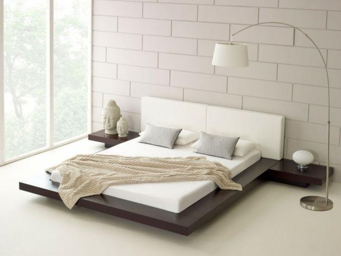 Japanische Betten ausgefallene betten hängend schwebendes bett dunkles holz