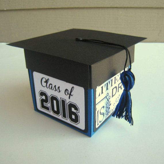 Graduation Card Exploding Box Class of 2017 Blue and Black READY TO ... ceab7ae82323