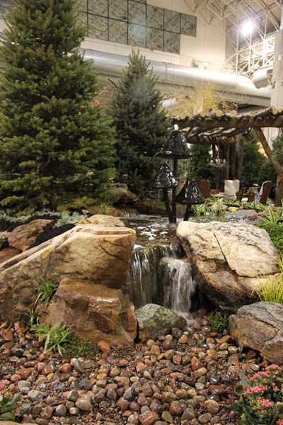 Aquascape Pondless Waterfall And Mushroom Water Feature At Chicago Flower  And Garden Show