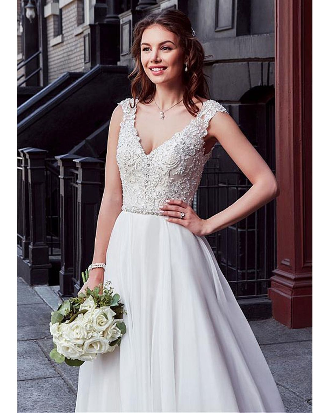 Country Western A Line Cheap Chiffon Bridal Gowns Beaded: » Charming Tulle & Chiffon V-neck Neckline Natural
