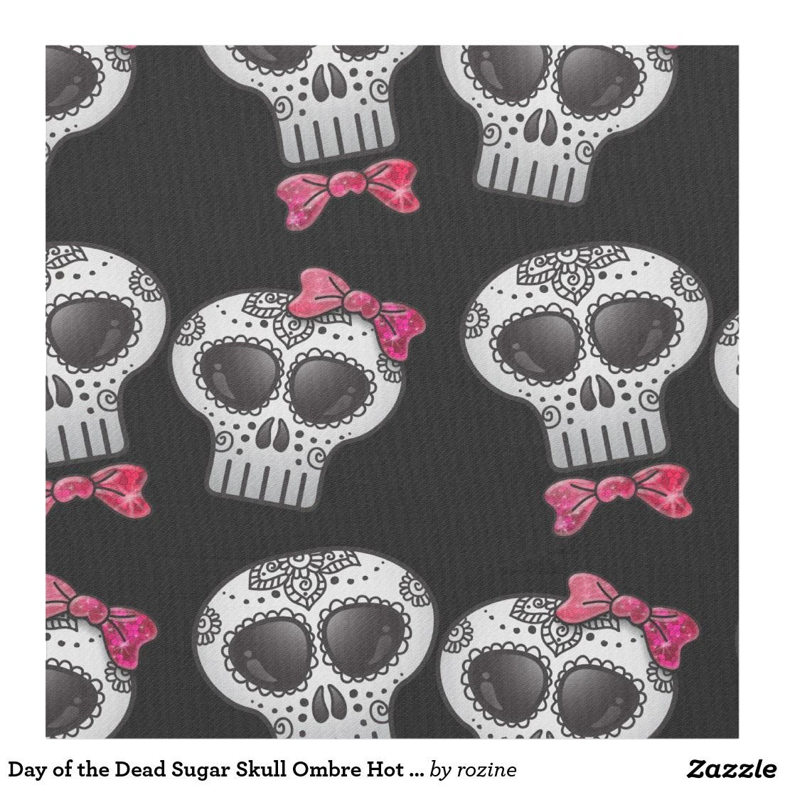 Day of the Dead Sugar Skull Ombre Hot Pink Glitter