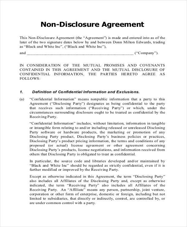Non Disclosure Agreement Pdf business template Pinterest Pdf