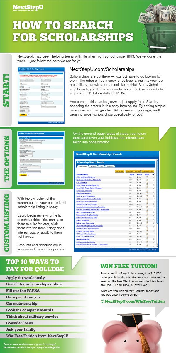How to search for scholarships infographic Source: nextstepu.com Pinned by Everest College, Springfield, MO 1800-475-2669