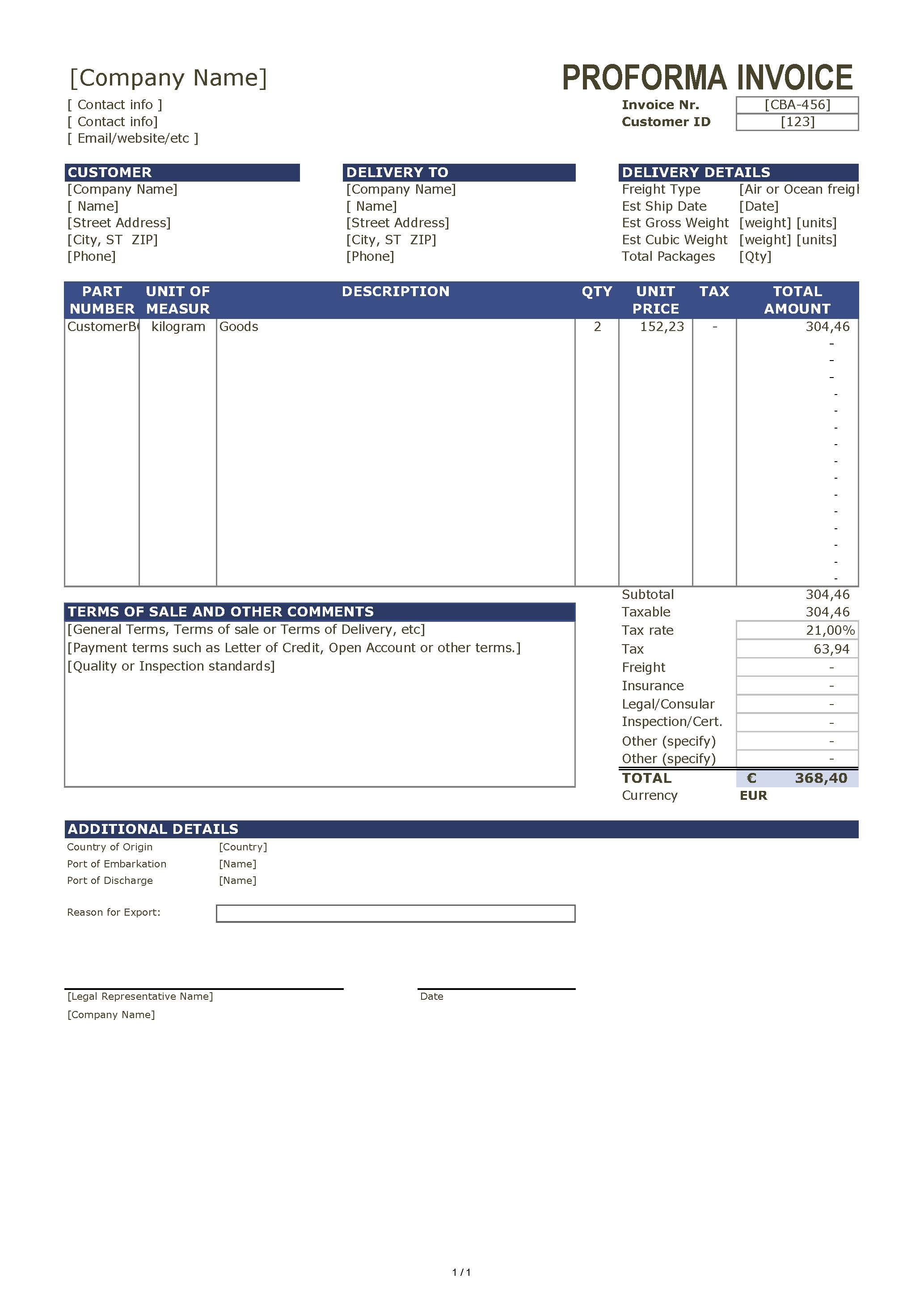 Proforma Invoice Template  Proforma Invoice Template  Templates