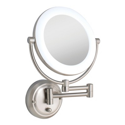 Zadro Fluorescent Lighted Wall Mount Mirror Infinity Dimmer Hardwire 10x 1x Power Satin Nickel Wall Mounted Mirror Mirror Lighted Vanity Mirror