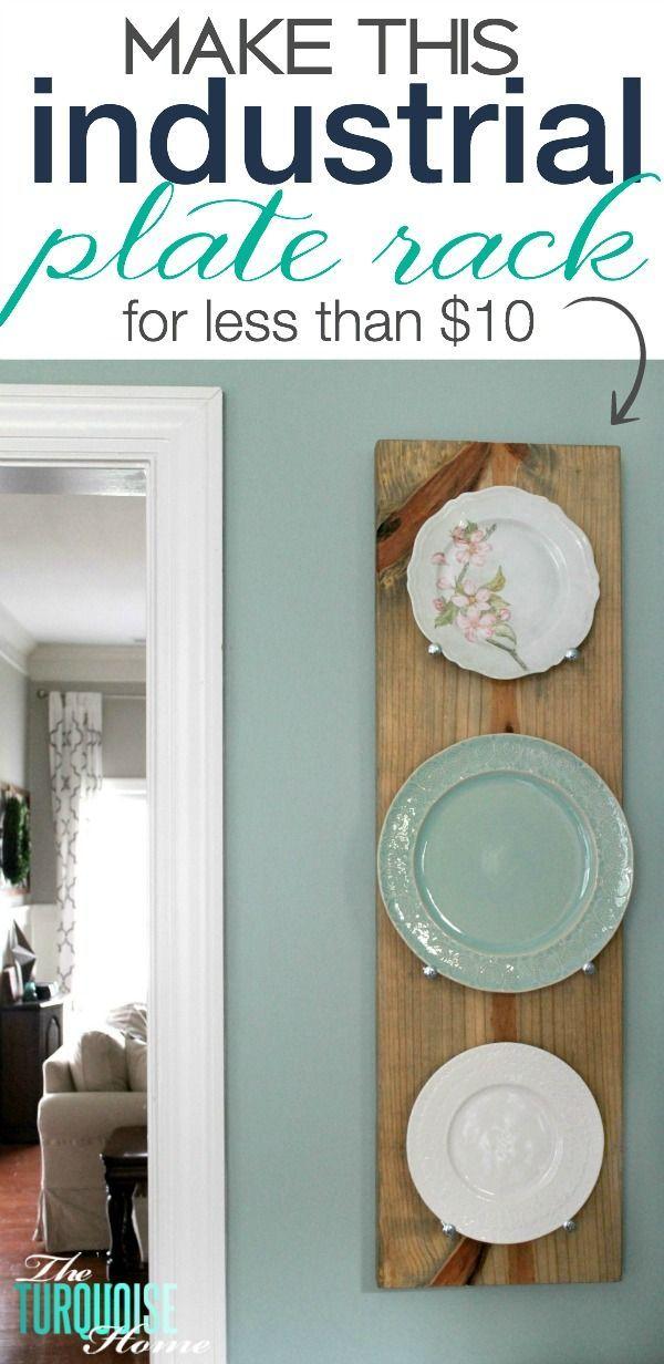 diy industrial plate rack farm house decoraci n de comedor rh pinterest es