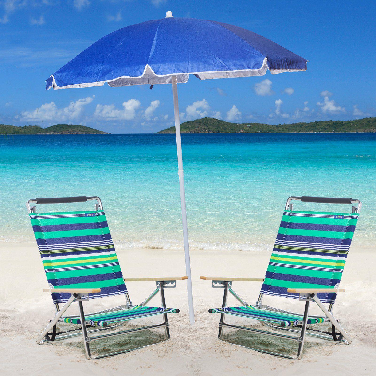 Outdoor Copa 5Position LayFlat Alum Beach Chair Set with