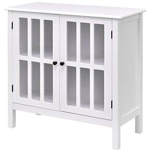 White Wood Bathroom Storage Floor Cabinet With Glass Doors Glass