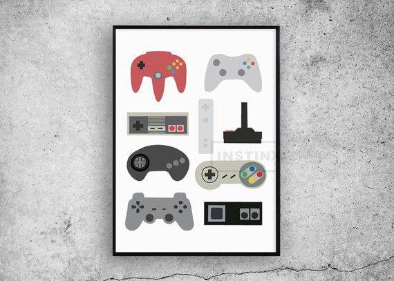 Sciana Kontroler Druku Plakat Nintendo Xbox Playstation Sony Wall Sztuki Chlopcy Wystroj Domu Plakat Sypialnia Retr Mens Bedroom Decor Retro Poster Wall Prints