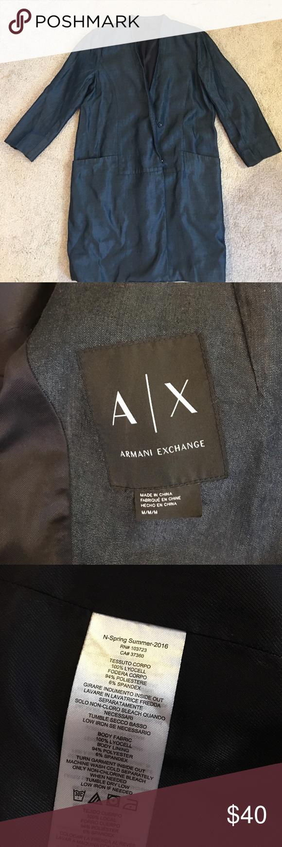 ·ARMANI EXCHANGE BLAZER· Denim look blazer. never worn. A/X Armani Exchange Jackets & Coats Blazers