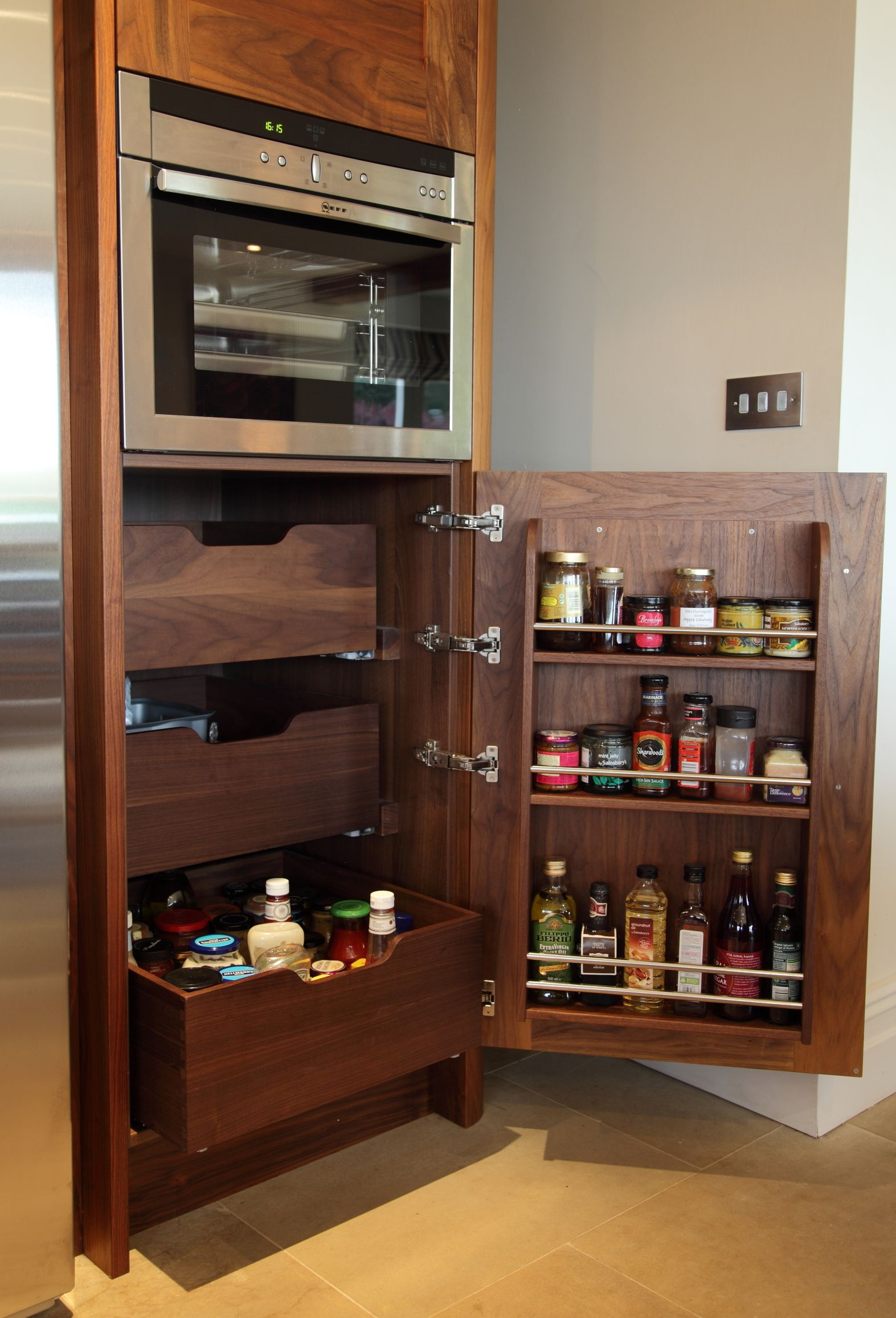 pull out storage with internal drawers and spice rack walnut rh pinterest com