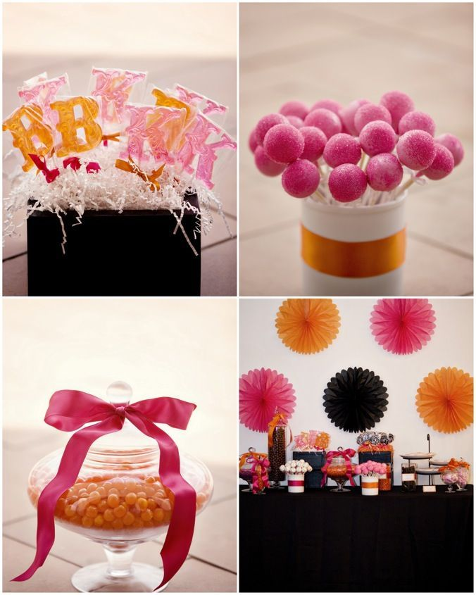 beach wedding shower favor ideas%0A pink and orange decorations and candy  personalized lollipops