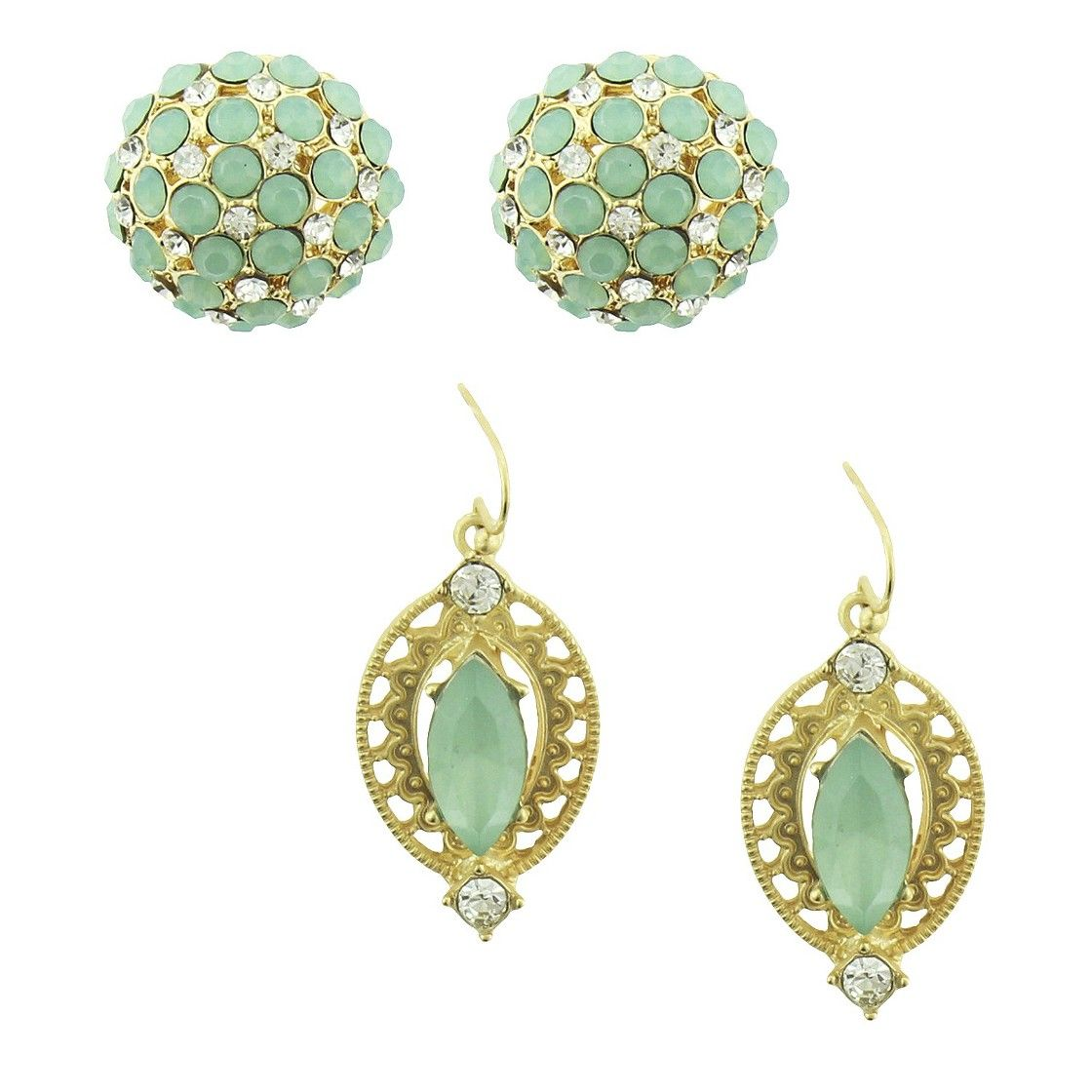 Women's Earring Set with Domed Fireball Studs and Marquis Stone Drops - Gold/Green
