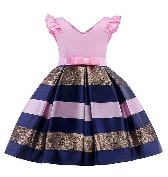 Girls Pink Stripe Formal Party Dress #babygirlpartydresses