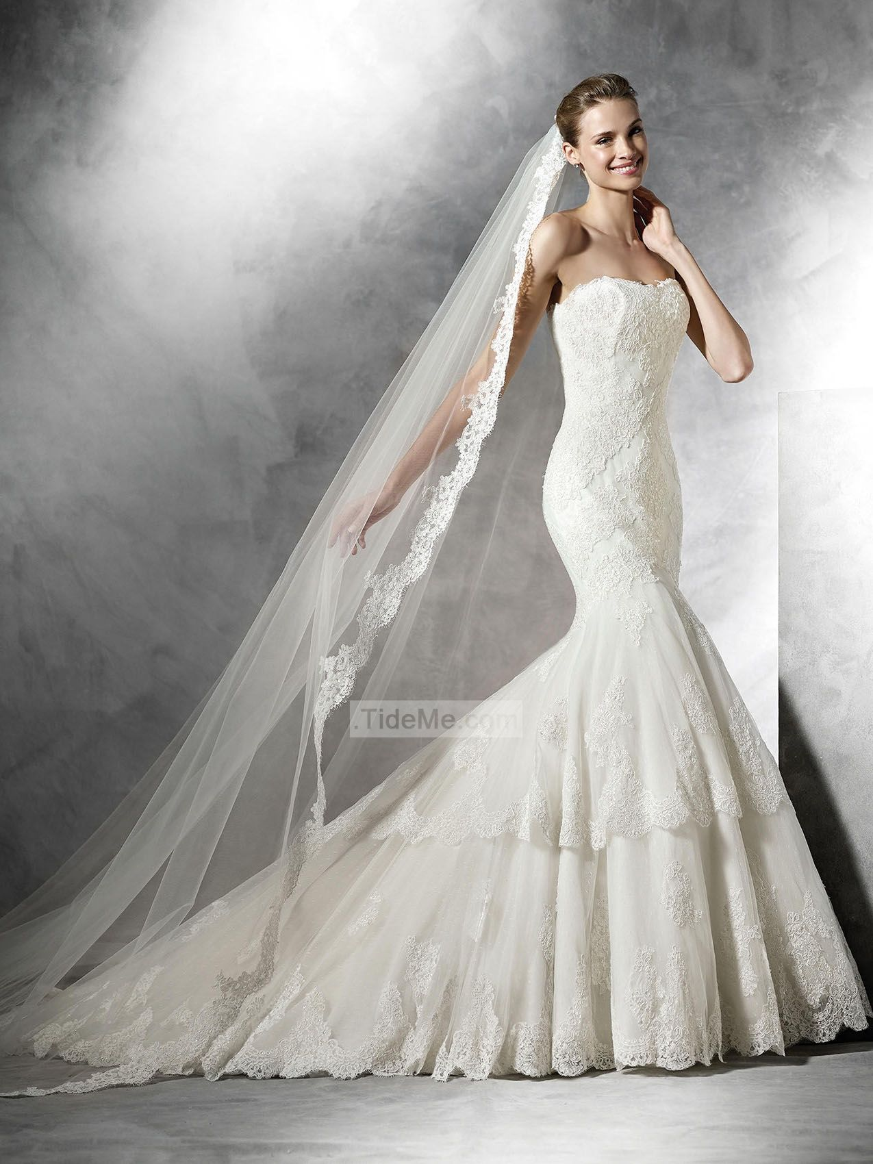 Fishtail wedding dress  Strapless Mermaid With Layered Lace Wedding Dresses PNND  Hot