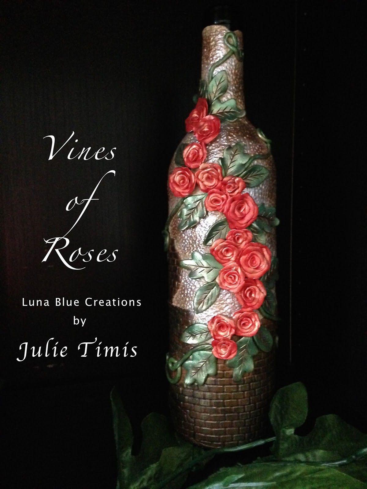 Luna Blue Creations Vines Of Roses Polymer Clay Bottle Wine Bottle Diy Crafts Diy Bottle Crafts Wine Bottle Art