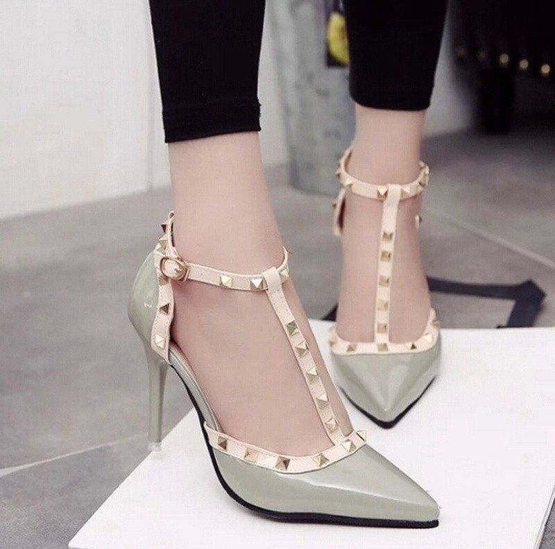 Shoes For Women Rivet Hollow Out Fashion Chunky Heel Comfort Pointed Toe Heels Dress Casual