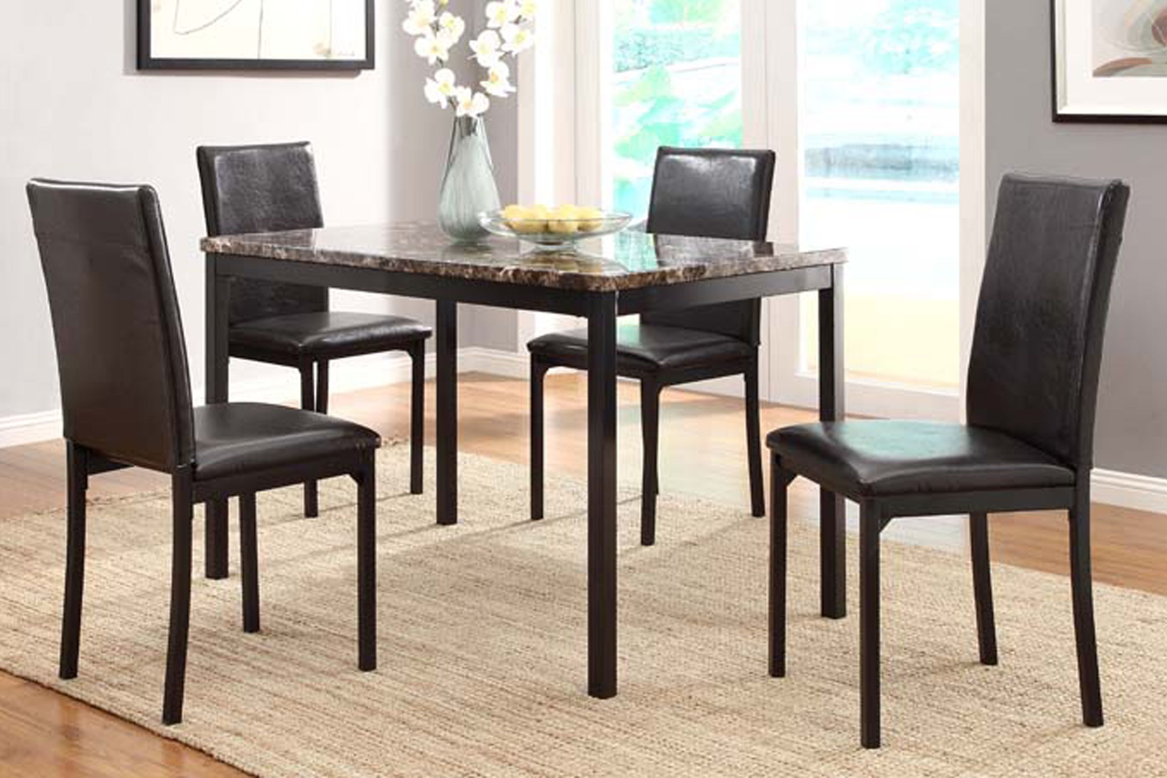 Julia Dining Table 4 Chairs Round Dining Room Sets Faux