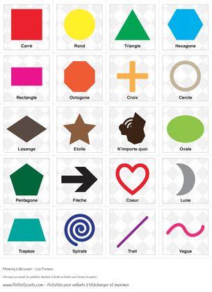 Jeu du memory pour enfant imprimer un memory sp cialement con u pour apprendre les 20 formes - Jeux memoire a imprimer ...
