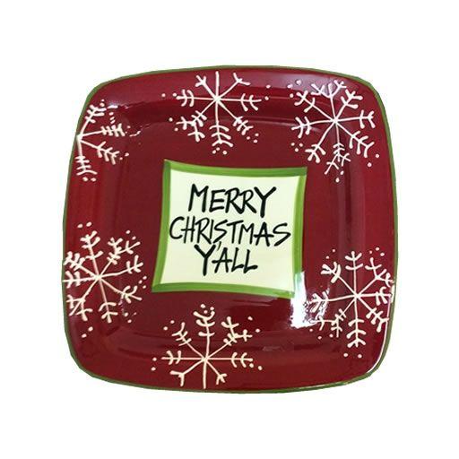 """Merry Christmas Y'all"" Snowflake Sqaure Ceramic Plate"