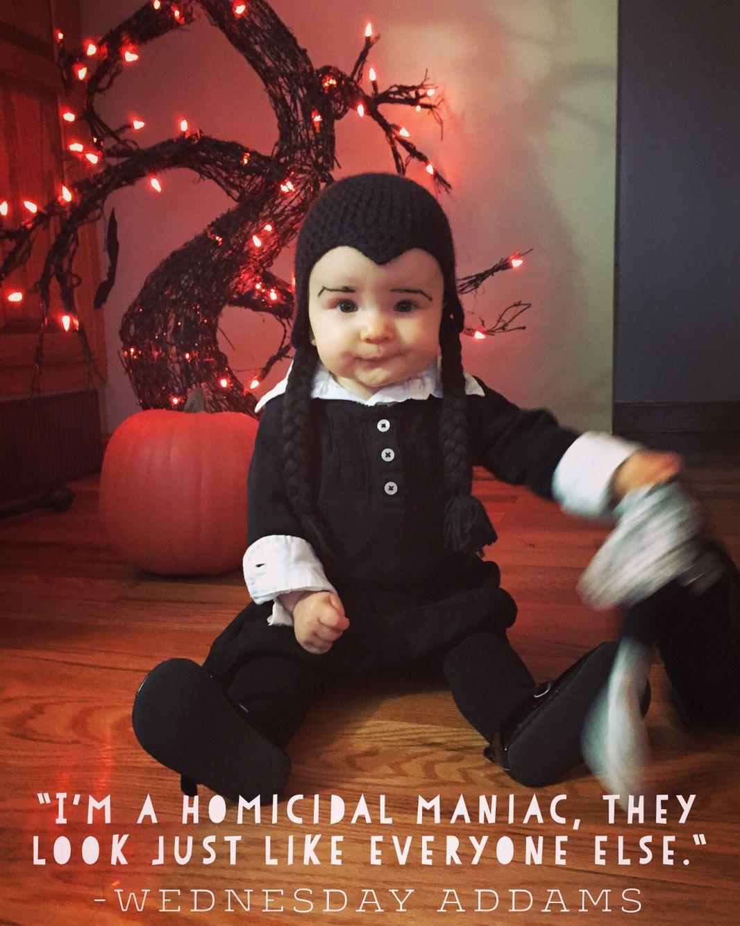 Wednesday Addams baby costume! Crochet wig/hat  sc 1 st  Pinterest & Wednesday Addams baby costume! Crochet wig/hat | Halloween ...