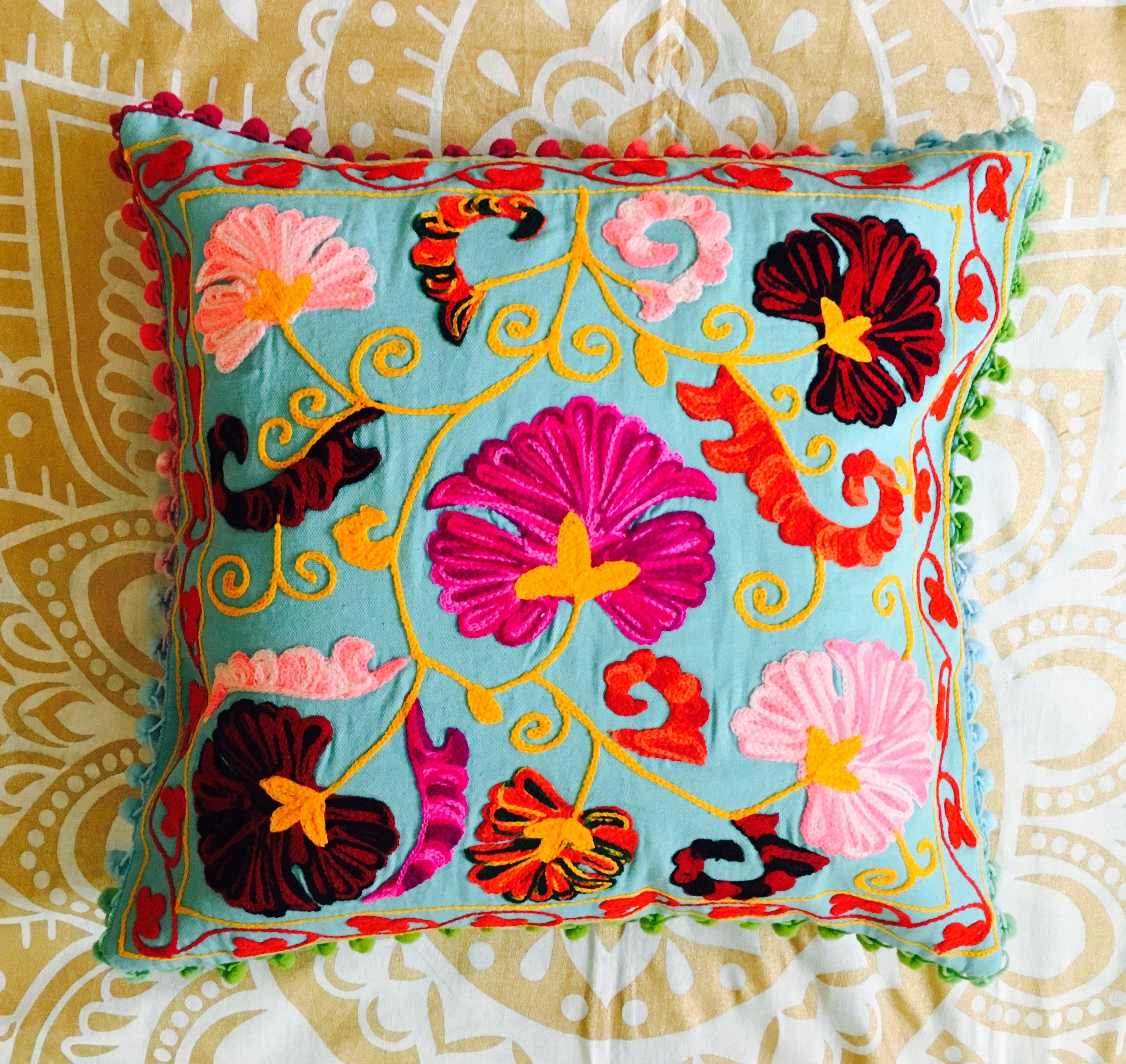 Indian Decorative Handmade Toss Pillow Cover Floral Pillow Case