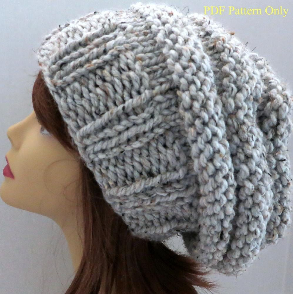 Free Knitting Pattern Hat Super Chunky : Chunky Mini-Beehive Slouch Hat Pattern Slouch hats ...