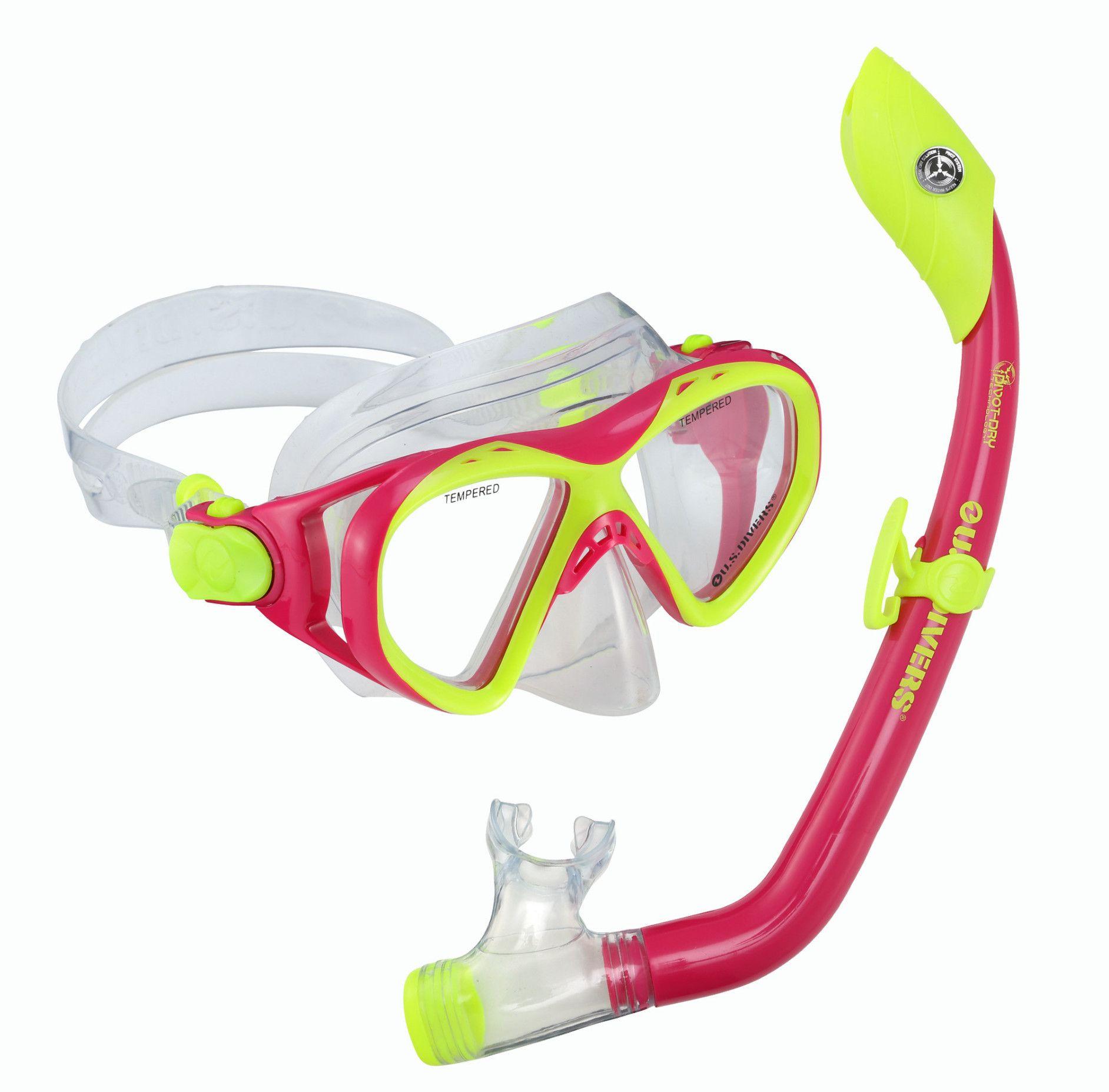 9848c79cbf9 U.S. Divers Buzz + Sea Breeze JR Mask   Snorkel Pink Yellow