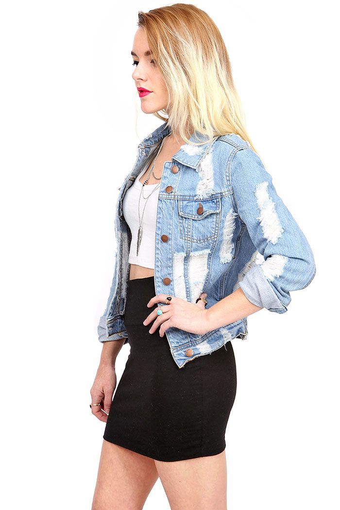 Wrecked Denim Jacket | Light Wash Jackets at Pink Ice