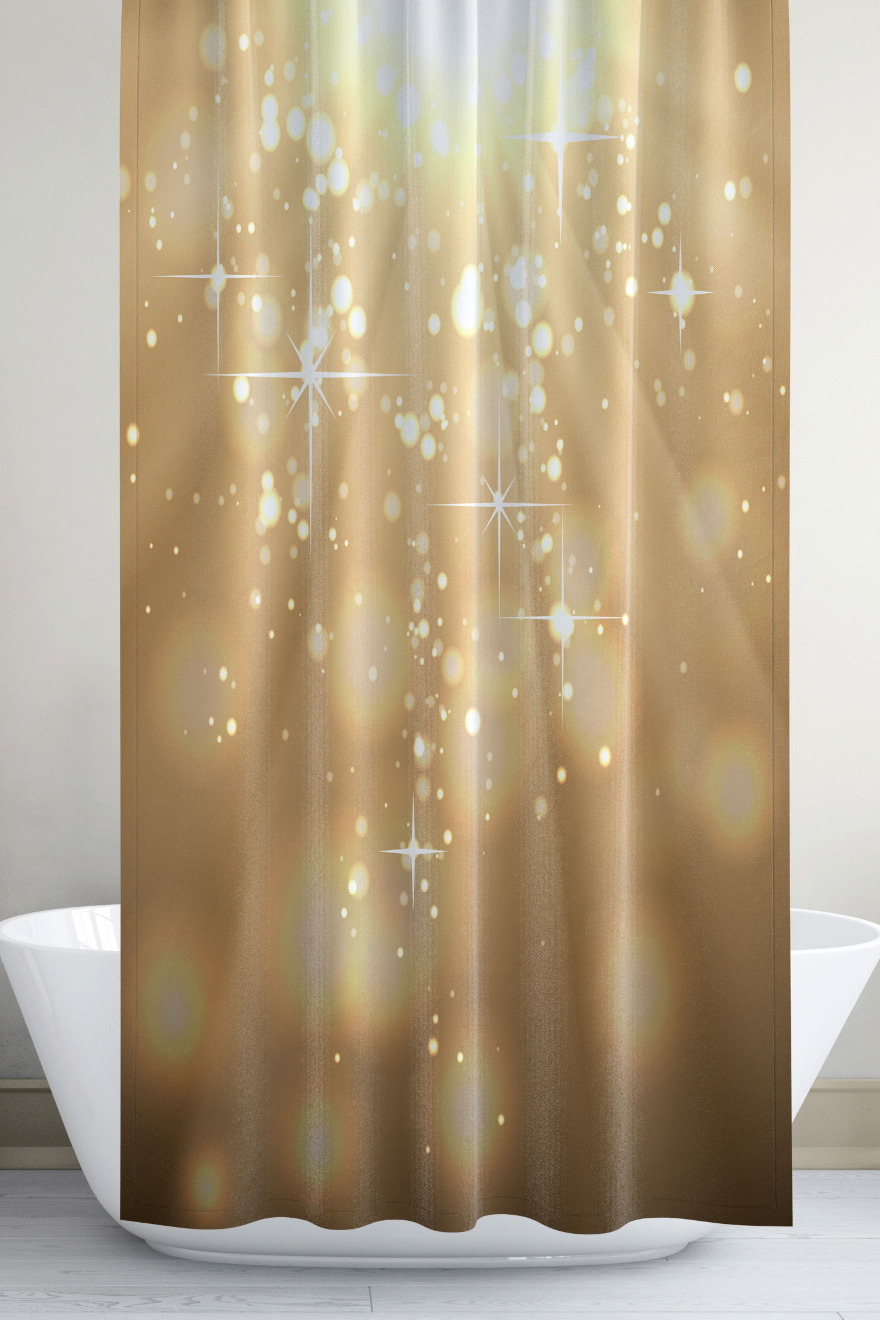 Sparkly Gold Shower Curtain Set With Bokeh Lights Retro Glam Girl