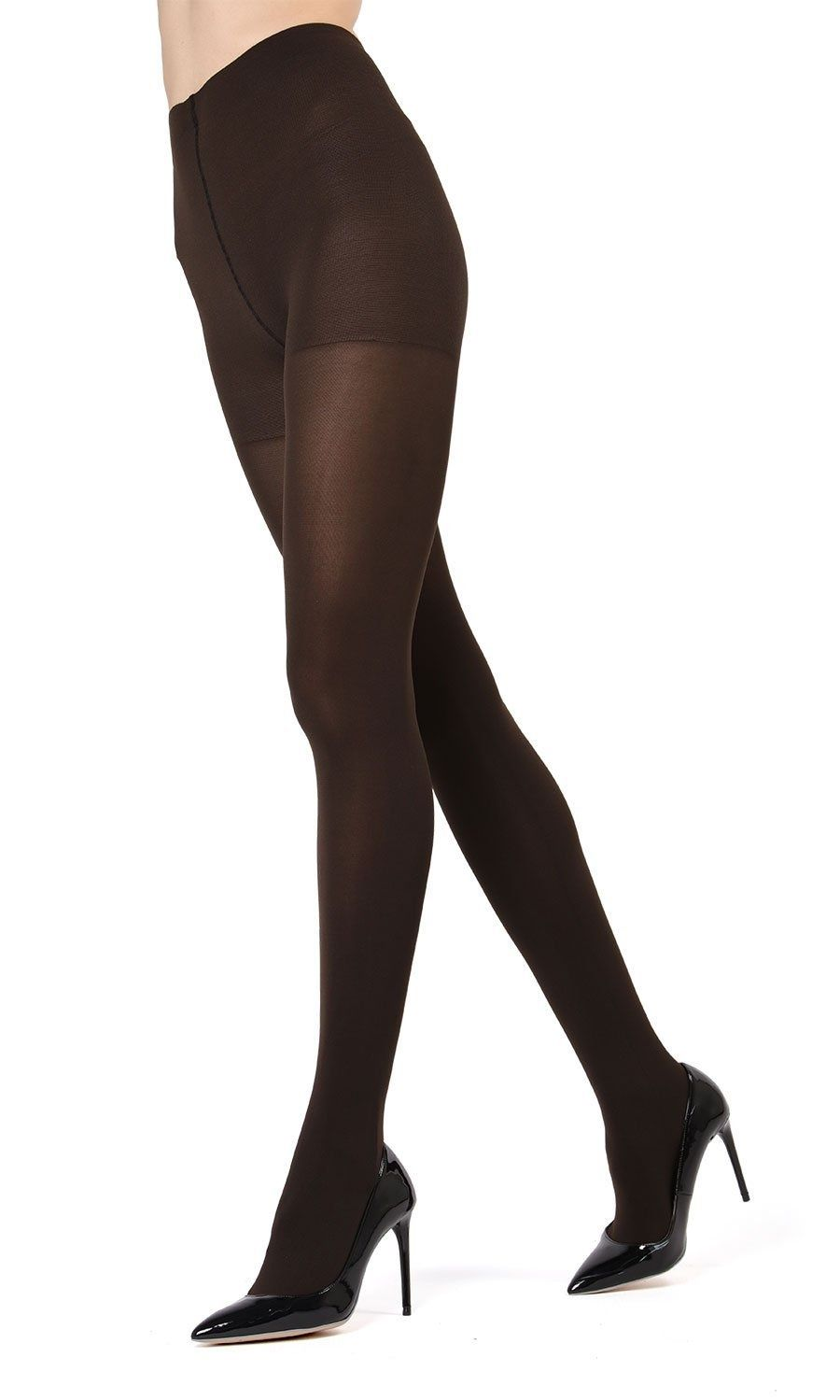 dea6f9eeb62 MeMoi Completely Opaque Control Top Tights MeMoi Premium Hosiery  Small Medium   Brown MO 336 Control