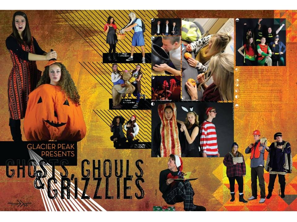 Glacier Peak High School / Halloween spread Yearbook Spreads, Yearbook Pages,  Halloween, High