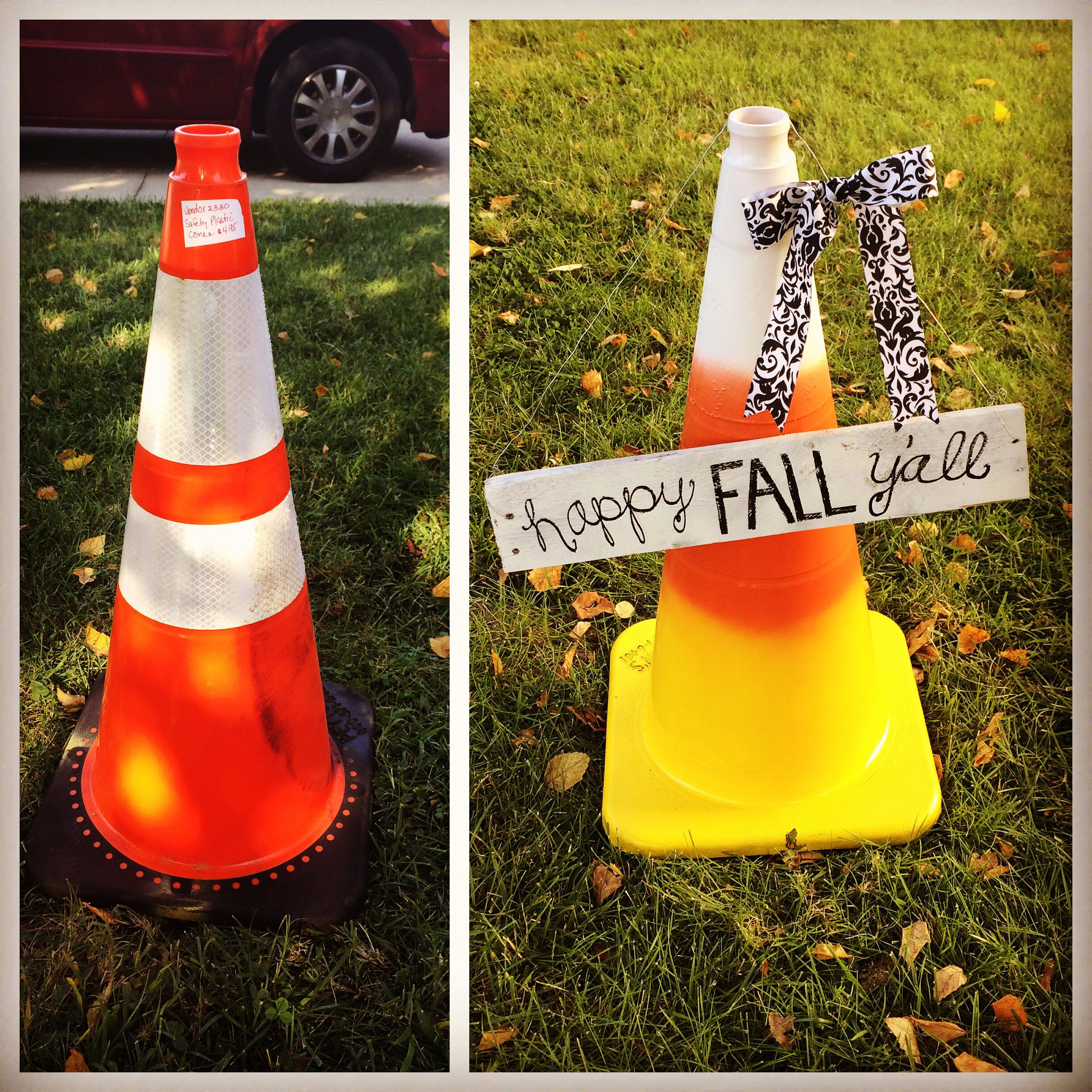DIY Candy corn decor and Happy Fall Y'all. Bought