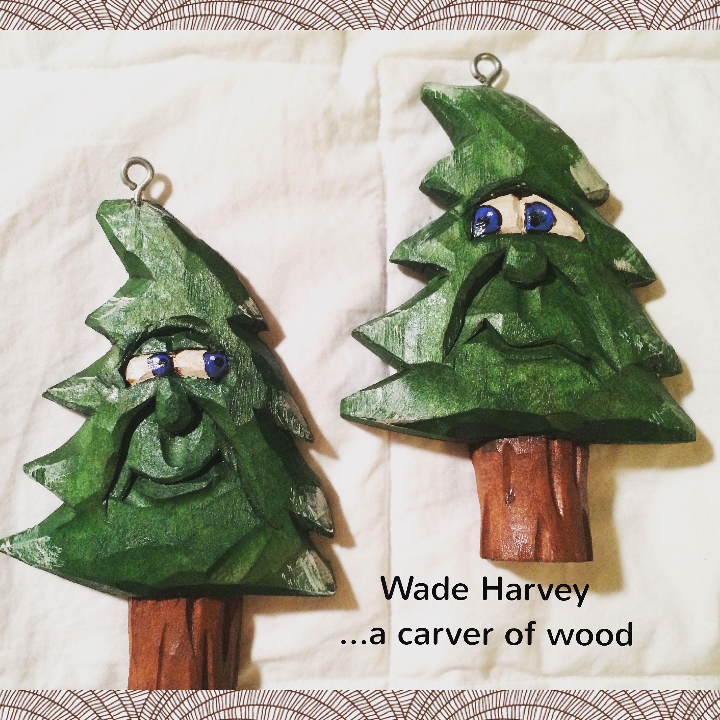 Two Of My Hand Carved Christmas Tree Ornaments That Are In There New Home In Nm Wood Christmas Ornaments Christmas Ornament Pattern Dremel Crafts