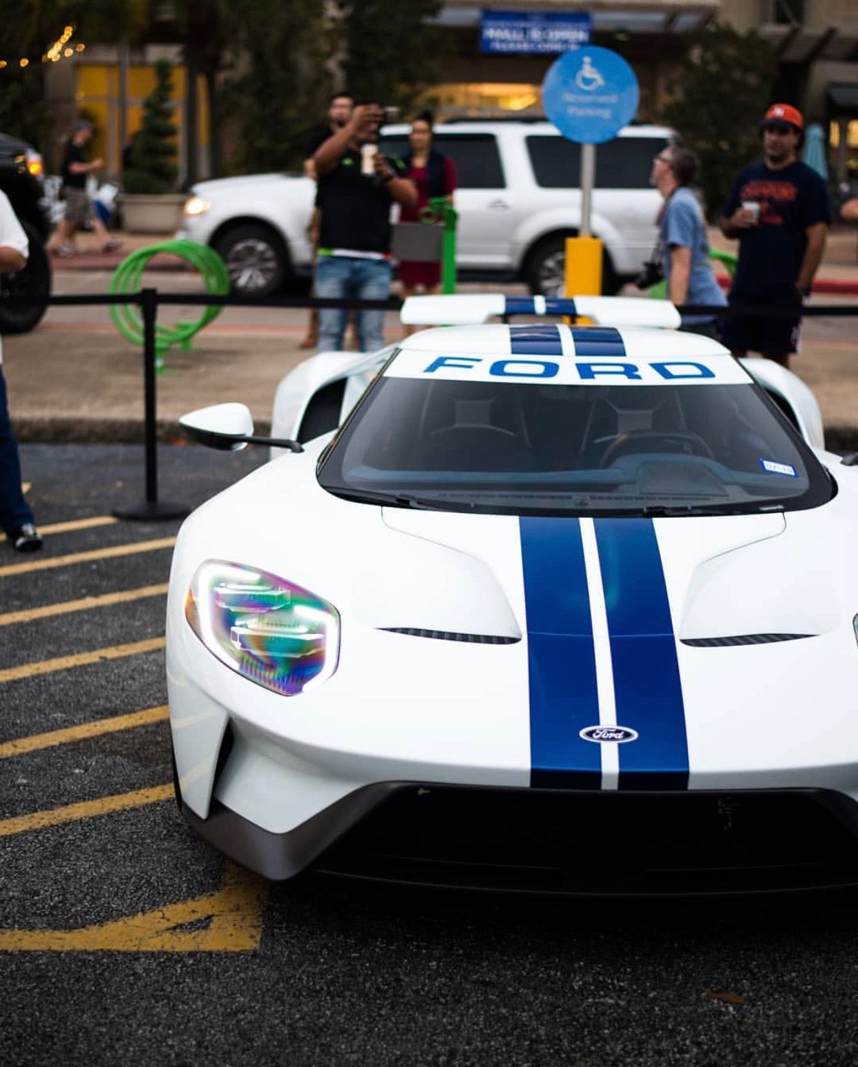 Ford Gt Painted In White W Blue Central Stripes Photo Taken By Ldv_photography On Instagram