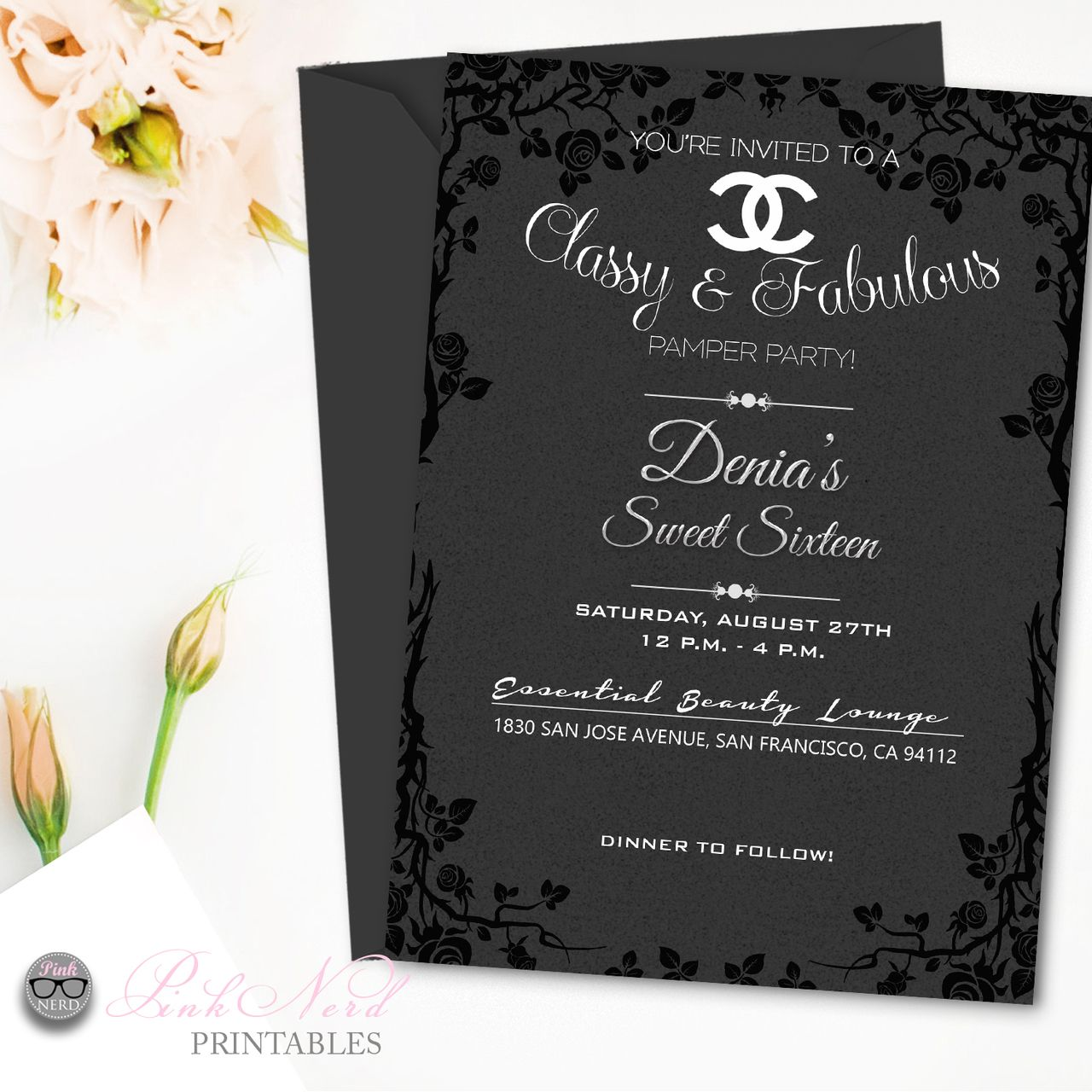 birthday party invitations printable%0A Black and gray chanel inspired birthday invitation printable chanel floral  invitation black elegant Chanel Inspired Party