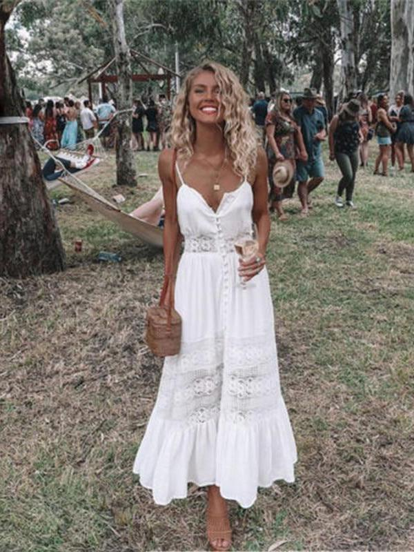 Women Boho V-Neck Long Maxi Evening Party Beach Sleeveless Dresses