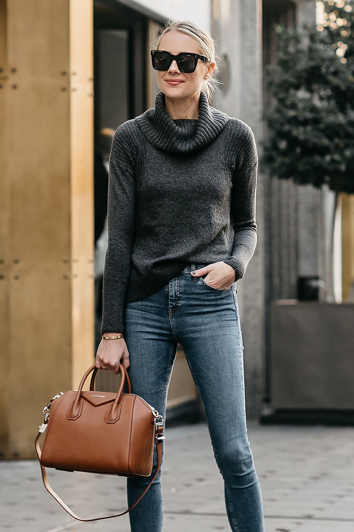 30bbb6afed88 Blonde Woman Wearing Grey Turtleneck Sweater Denim Skinny Jeans Givenchy  Antigona Cognac Handbag Fashion Jackson Dallas Blogger Fashion Blogger  Street Style
