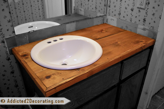 Bathroom Makeover Day 2 My 35 Diy Wood Countertop Stains Countertops And Vanities