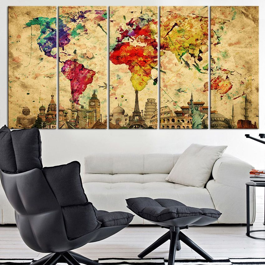 living room art prints%0A Canvas Art Print Wonders of the World on Watercolor World Map  Large Wall  Art World